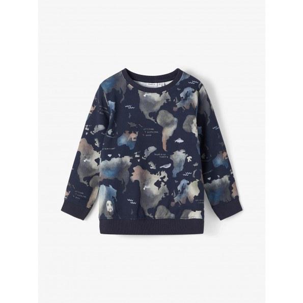 Name It sweatshirt m. verdensdele - Dark Sapphire