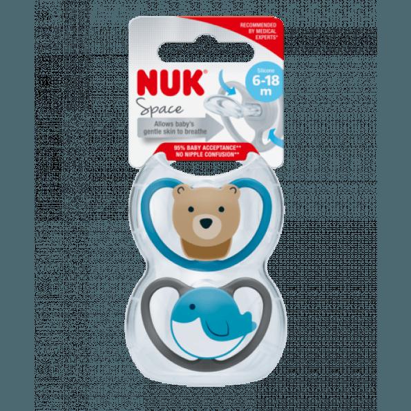 NUK Space sutter 2-pak 6-18 mdr. - bjørn/hval