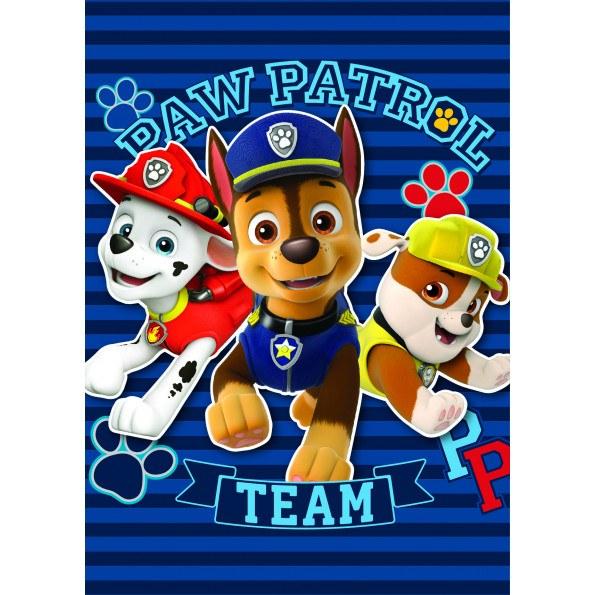 Paw Patrol fleece tæppe 120x140 cm - blå