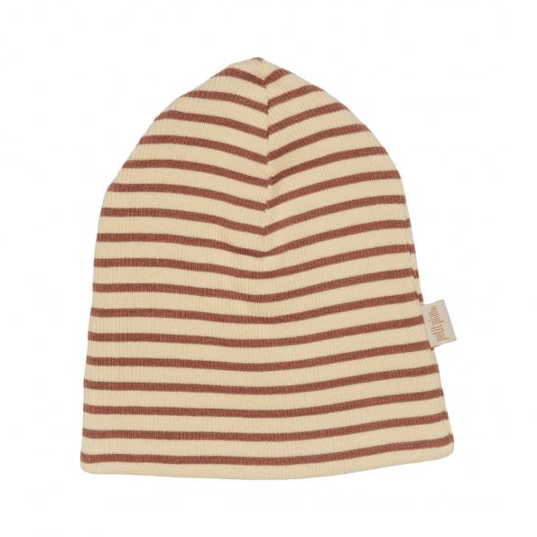 Petit Piao stribet hat - Dusty Rose/Cream