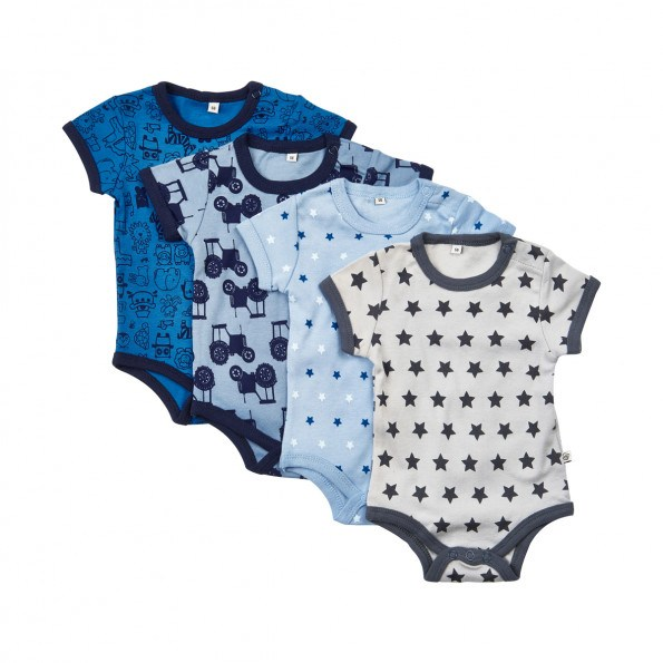 Pippi Kortærmede Bodystockings 4-pak - Blå