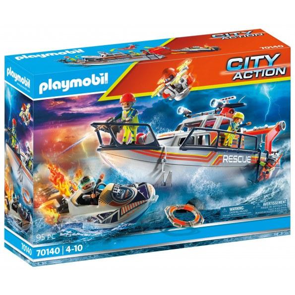 Playmobil City Action slukningsudstyr med redningsbåd - 70140