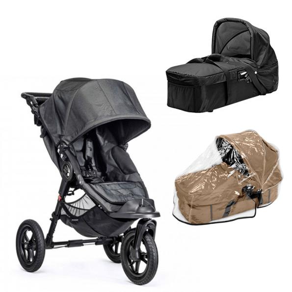 Baby Jogger City Elite - Charcoal Denim + Kompakt Pram og Regnslag til Pram