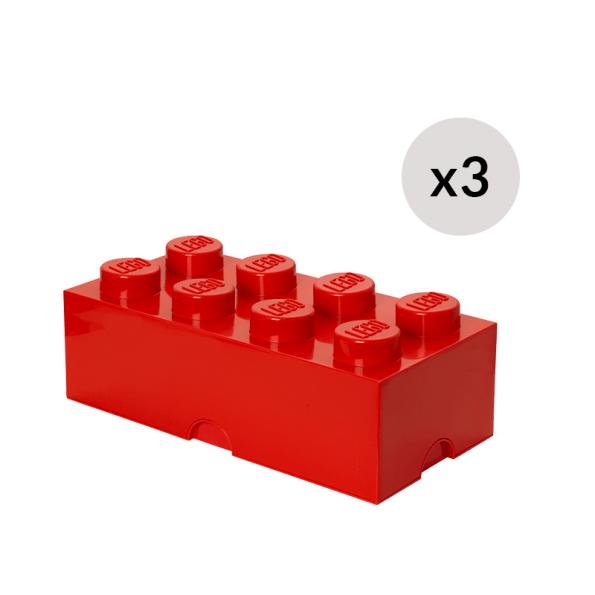 LEGO Opbevaringskasse 8 - Rødx3