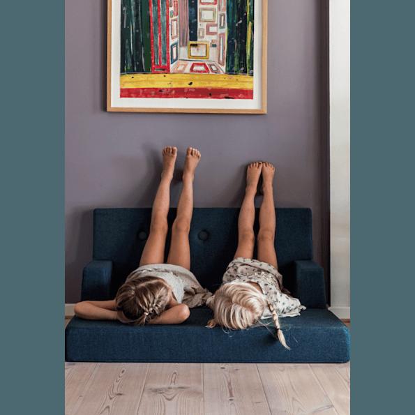 By KlipKlap KK Kids sofa - Mørkblå m. sorte knapper