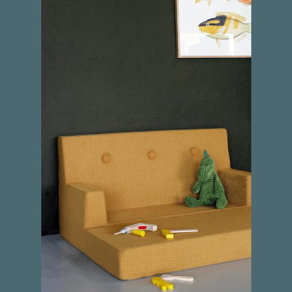 By KlipKlap KK Kids sofa - Mustard m. gule knapper
