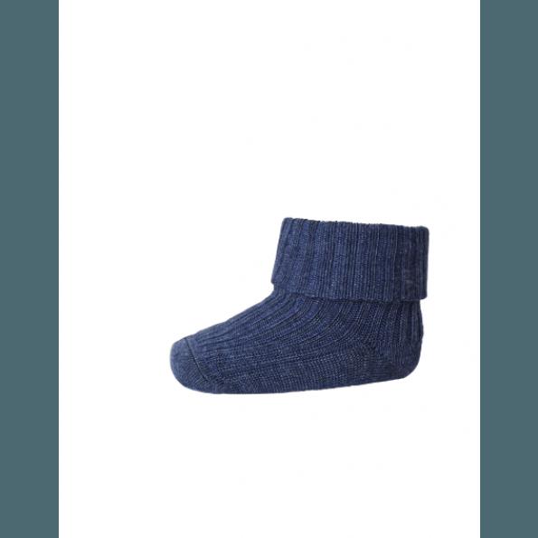 mp Denmark uldstrømper med rib - Dark Denim Melange