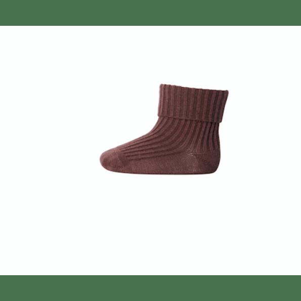 mp Denmark strømper i bomuldsrib - sienna brown