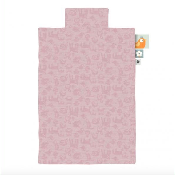 Sebra juniorsengetøj - forest blossom pink