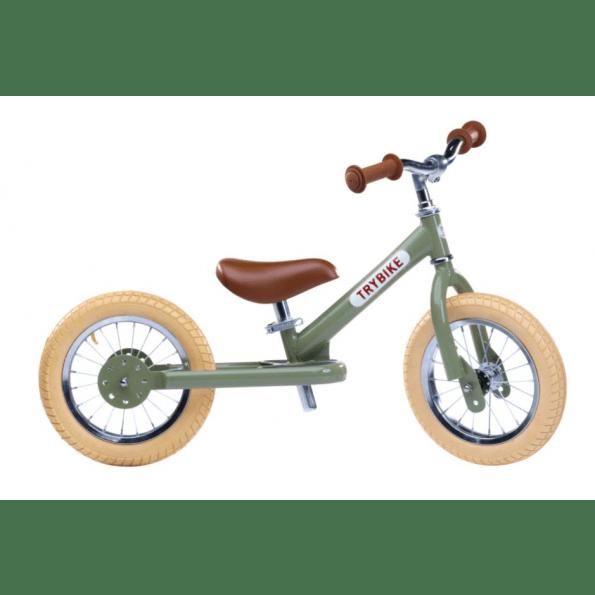 TRYBIKE Vintage balancecykel 2 hjul - grøn