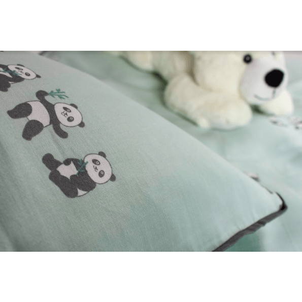 Night & Day panda juniorsengetøj 100x140 - mint