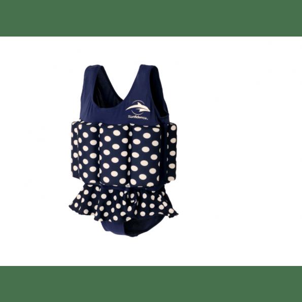 Konfidence flydedragt m. skirt - navy polka dot
