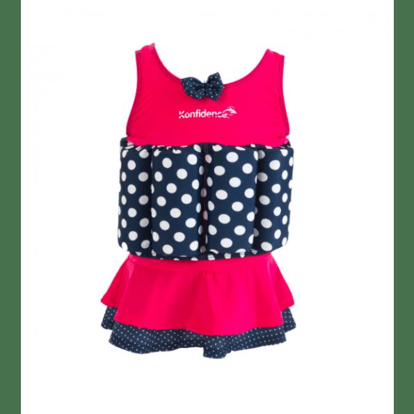 Konfidence flydedragt m. skirt - pink polka