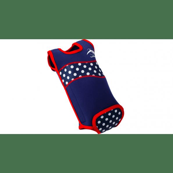 Konfidence babywarma våddragt - navy polka dot