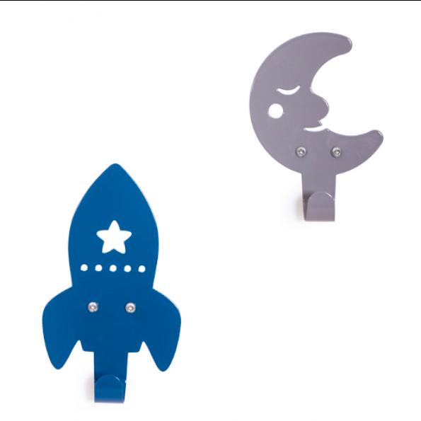 Roommate raket & måne knager - grå/blå