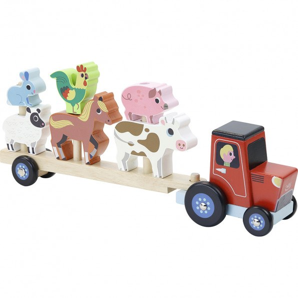 Vilac traktor og anhænger til stabledyr
