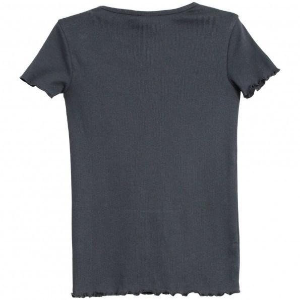 WHEAT rib t-shirt med flæse - Greyblue