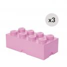 LEGO Opbevaringskasse 8 - Lyserødx3