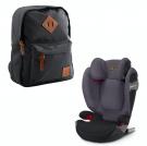 Cybex Solution S-fix autostol Premium black + Heybasic Mini rygsæk sort