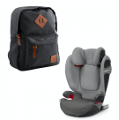 Cybex Solution S-fix autostol Manhattan grey + Heybasic Mini rygsæk sort