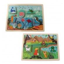 Magni vendbart puslespil med dyr i træ +2 år - jungle/havet