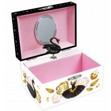 Magni svane smykkeskrin - sort/lyserød/hvid