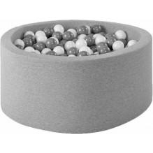 MISIOO rundt Boldbassin med 150 bolde - Lysegrå (90x40 cm)