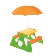 Nordic Play Bord/bænksæt m. parasol - orange/grøn