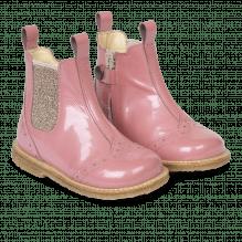 Angulus begynder støvlet med elastik og lynlås - Rosa Pink/Rosa Glitter