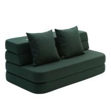 By Klipklap 3 fold sofa - Grøn m. grøn knap