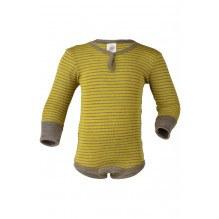 Engel stribet uld/silke body - Saffran/Walnut