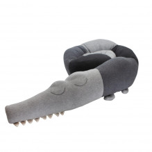 Sebra strikket pude, Sleepy Croc - Storm Grey