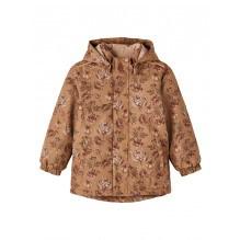 Lil' Atelier Lasnow10 softshell jakke m. blomster- Tobacco Brown