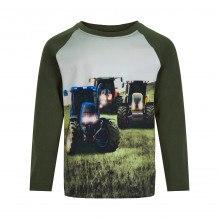 Minymo langærmet t-shirt med traktorer - Forest Night