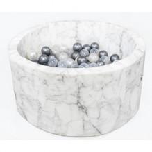 MISIOO rundt Boldbassin med 200 bolde - Marmor hvid (90x40 cm)