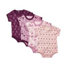 Pippi Kortærmede Bodystockings 4-pak - Lilac