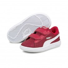 Puma Smash v2 Glitz Glam V Infant sneakers - Persian Red/White