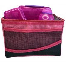 Sistema Lunch Bag køletaske m. tilbehør - Rød/Pink