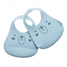 Tiny Republic silikone hagesmæk 2-pak - Light blue