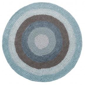 Sebra hæklet gulvtæppe - blå