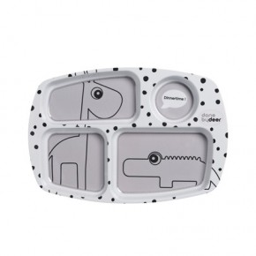 Done By Deer - Happy Dots Compartment Plate - Grey