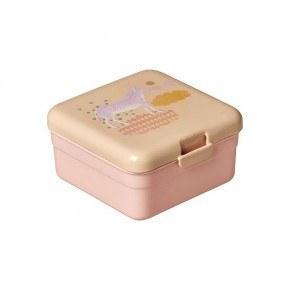 Rice Lille madkasse med dyreprint - Soft pink