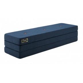 By KlipKlap Madras 3 fold XL 200 cm - Mørk blå m. orange knapper