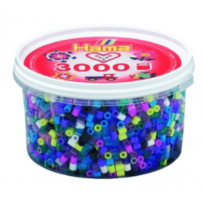 Hama midi perler bæger 3000 stk mix