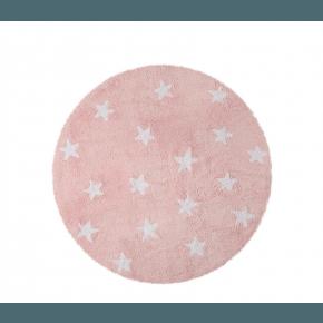 Lorena Canals rundt gulvtæppe - Stjerner Pink/Hvid