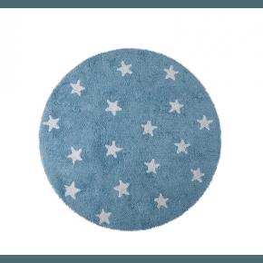Lorena Canals rundt gulvtæppe - Stjerner Blå/Hvid