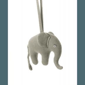 Smallstuff musik uro, strikket elefant, grå