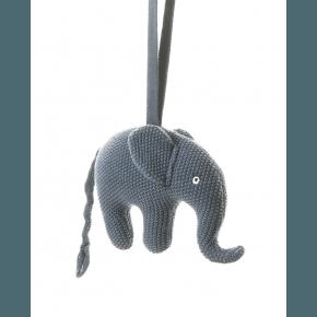Smallstuff musik uro, strikket elefant, blå