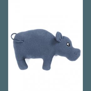 Smallstuff pude, strikket flodhest, blå