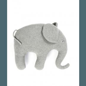 Smallstuff pude, strikket elefant, grå